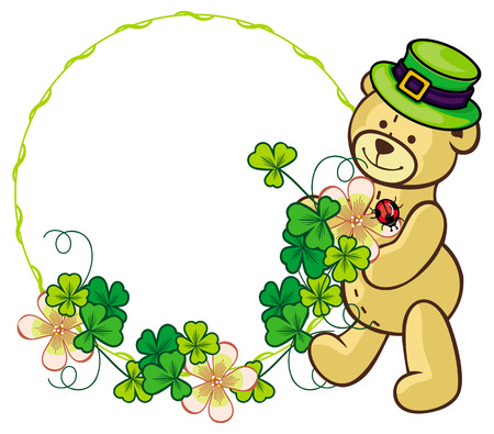 animal st  patricks day: Clover frame and cute teddy bear in green hat. Copy space. Raster clip art.
