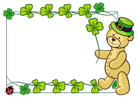 Clover frame and cute teddy bear in green hat. Copy space. Raster clip art.