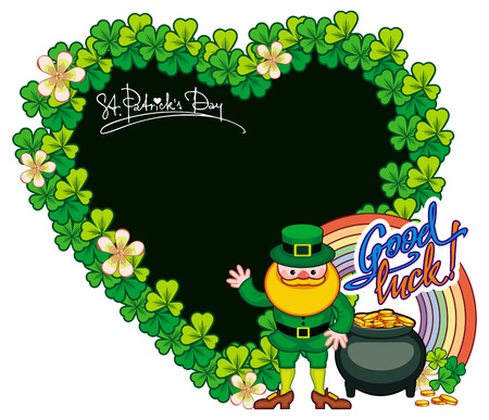 Funny heart-shaped frame with shamrock and leprechaun. St. Patrick Day background. Copy space. Raster clip art. Stock Photo