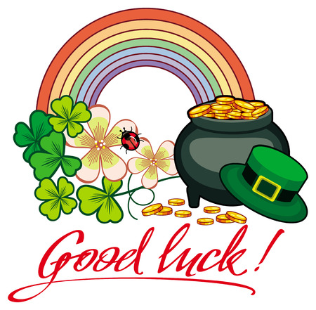 Holiday label with shamrock, rainbow and leprechaun pot of gold. St. Patrick Day background. Copy space. Raster clip art.