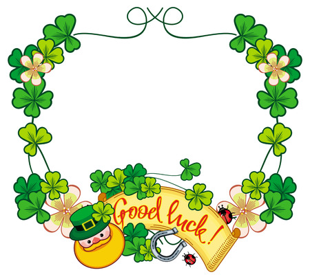 Funny frame with shamrock, leprechaun and text Good luck!. St. Patrick Day background. Copy space. Raster clip art. Stock Photo