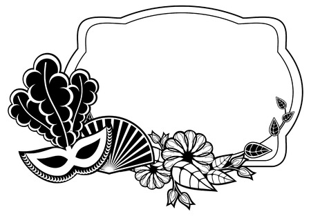 Black and white silhouette frame with carnival masks and abstract flowers. Copy space. Raster clip art.