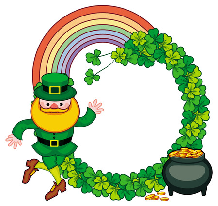 Round frame with shamrock, leprechaun and a pot of gold. St. Patrick Day background. Copy space. Raster clip art.