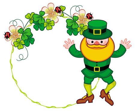 Round frame with shamrock and leprechaun. St. Patrick Day background. Copy space. Raster clip art.