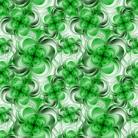 other space: Seamless pattern with abstract fractal flowers. Design element for brochure, greeting cards, web and other graphic designer works. Copy space. Digital collage. Stock Photo