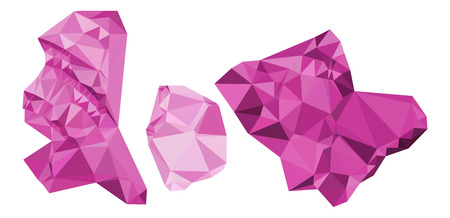 shrapnel: Abstract purple minerals isolated on a white. Vector clip art.