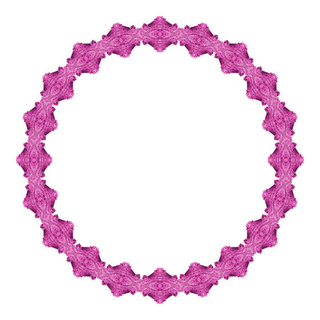 Round frame with purple gems. Copy space. Vector clip art.
