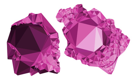 Abstract purple minerals isolated on a white. Raster clip art.