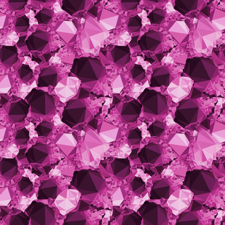 Seamless pattern with sparkling purple jewels. Raster clip art. Stock Photo