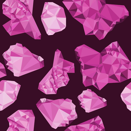 allover: Seamless pattern with sparkling purple jewels. Raster clip art. Stock Photo