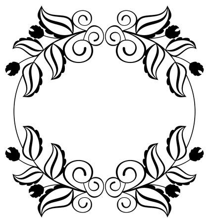 Silhouette Runder Rahmen. Abstrakte Schwarz-Weiß-Ornament Mit ...