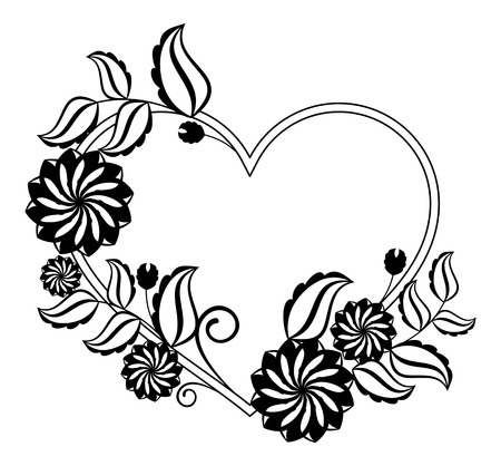 heartshaped: Heart-shaped black and white frame with floral silhouettes. Copy space. Vector clip art.