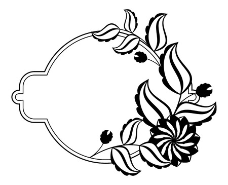 Silhouette round frame. Abstract black and white ornament with decorative flowers. Copy space. Vector clip art. Illustration