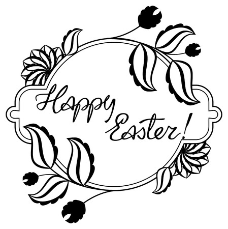 Holiday silhouette label with decorative flowers and artistic written greeting text Happy Easter!.  Design element for banners, labels, prints, posters, greeting cards, albums. Vector clip art.