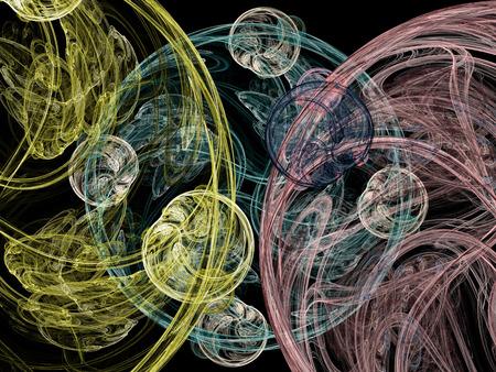 Abstract smoke swirls. Fractal illustration. Digital collage.