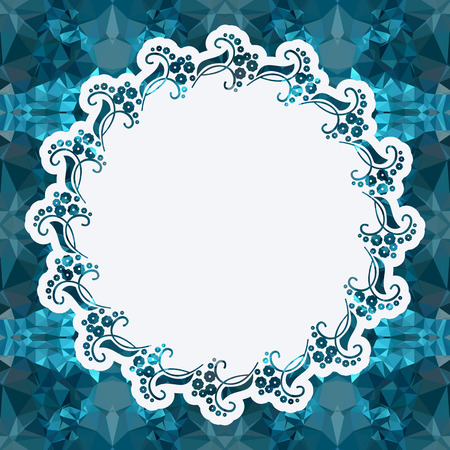 Attractive background with mosaic pattern. Decorative frame. Copy space. Vector clip art.
