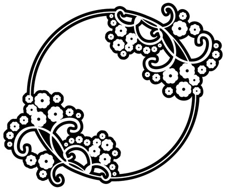 copy text: Black and white round frame with floral silhouettes. Copy space. Vector clip art. Illustration