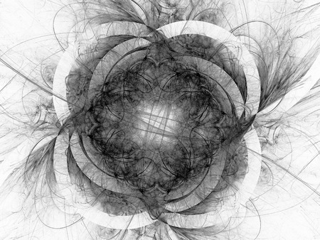Monochrome fractal background can be used as an alpha channel for video and design projects. Digital collage.