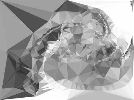 diamond shape: Abstract monochrome mosaic backdrop. Geometric low polygonal background. Design element for posters, business cards, presentations layouts, showcases. Vector clip art.