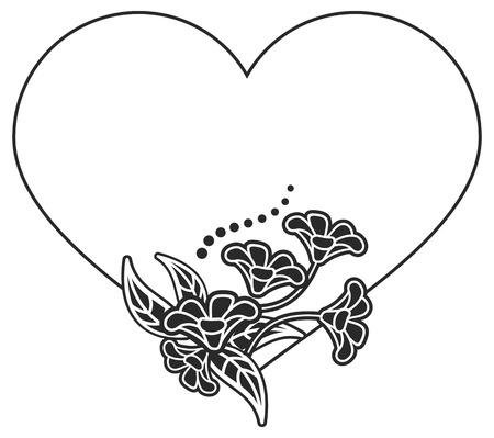 Hartvormig zwart-wit frame met bloemen silhouetten. Kopieer de ruimte. Vector clip art.