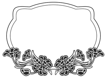 Black and white frame with flowers silhouettes. Copy space. Vector clip art.