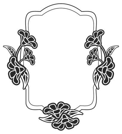 Marco blanco y negro con siluetas de flores. Copie el espacio. Vector de imágenes prediseñadas.