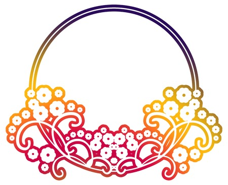 Beautiful round gradient frame. Color silhouette frame for advertisements, wedding and other invitations or greeting cards. Raster clip art.