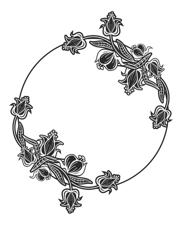 old fashioned: Black and white round frame with floral silhouettes. Copy space. Vector clip art. Illustration