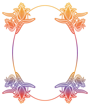 Beautiful round gradient label with flowers. Color silhouette frame for advertisements, wedding and other invitations or greeting cards. Raster clip art.