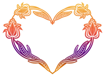 mixed marriage: Heart shaped frame with gradient fill. Raster clip art.