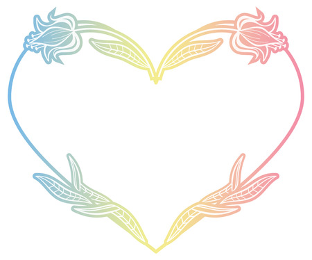 Heart shaped frame with gradient fill. Raster clip art.