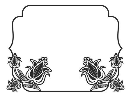 黒と白のアウトライン ラベル装飾花。領域をコピーします。ベクター クリップ アート。  イラスト・ベクター素材