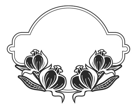 Black and white outline label with decorative flowers. Copy space. Vector clip art.