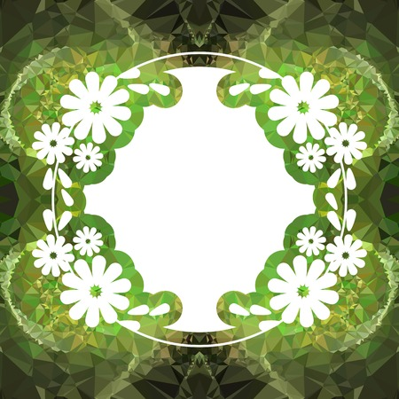 Color mosaic round frame with decorative flower. Original decorative background for text or photos. Vector clip art. Illustration