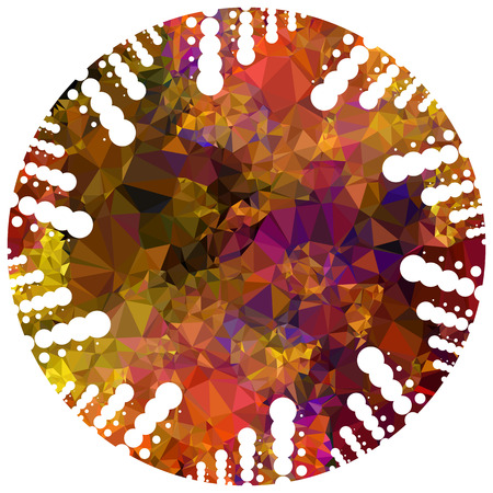 Abstract mosaic round label. Copy space. Vector clip art. Illustration