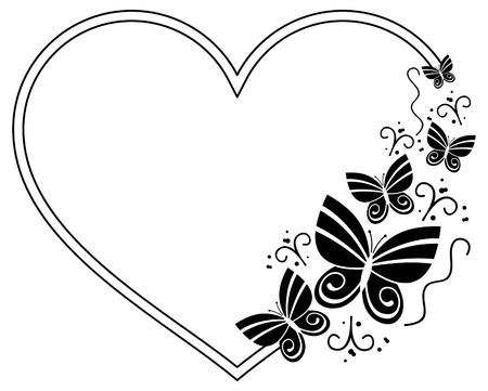 heart shaped: Heart shaped silhouette frame with butterflies. Vector clip art. Illustration