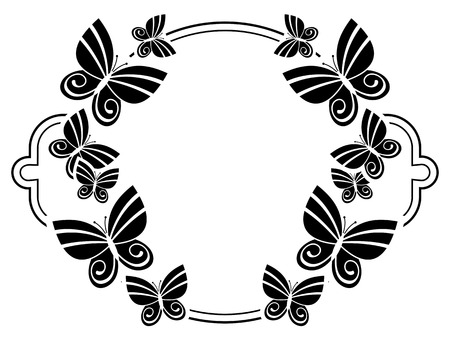 Black and white silhouette round frame with butterflies. Vector clip art.