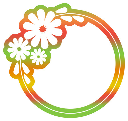 Beautiful round floral frame with gradient fill. Color silhouette  frame for advertisements, wedding and other invitations or greeting cards. Raster clip art. Stock Photo
