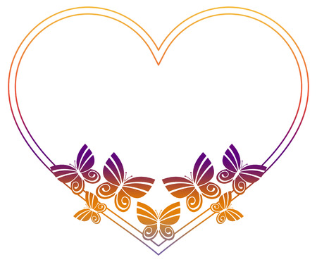Beautiful gradient frame with butterflies. Copy space. Raster clip art Stock Photo