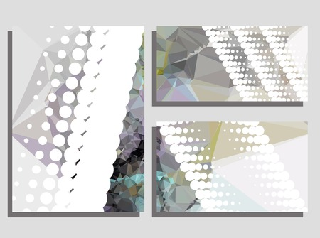 composition: Low poly mosaic background set. Template design, list, front page, brochure layout, banner, idea, cover, print, flyer, book, blank, card, ad, sign, sheet. Copy space. Vector clip art. Illustration