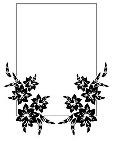 Schwarz-Weiß-Silhouette-Rahmen Mit Dekorativen Blumen. Vektor Clip ...
