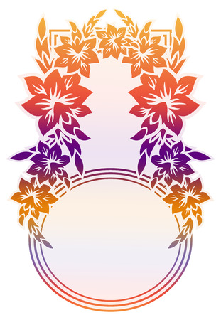 Beautiful raster frame with gradient filled. Color elegant flower frame for advertisements, flyer, web, wedding and other invitations or greeting cards.