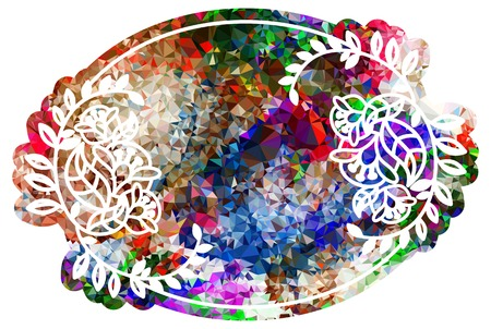 Attractive background mosaic. Decorative oval frame. Copy space. Vector clip art.