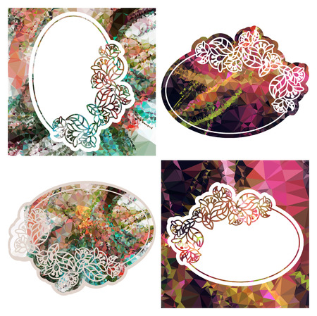 Attractive background with mosaic pattern. Decorative oval frame.