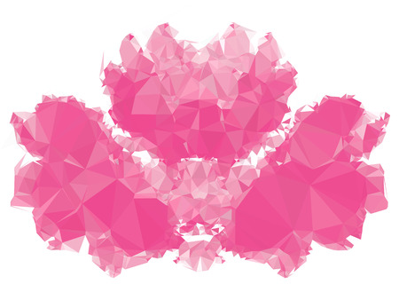 Pink mosaic backdrop with triangles. Abstract geometric low polygonal background. Design element for book covers, presentations layouts, title backgrounds. Vector clip art.