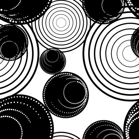 Monochrome geometric pattern with circles and dots. Modern stylish halftone texture. Seamless background. Black and white vector clip art. Illustration