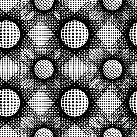 Black and white abstract seamless background. Halftone circles, halftone dot pattern. Repeating geometric tiles. Vector clip art.