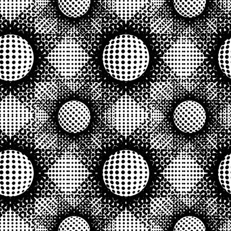 Fondo abstracto abstracto blanco y negro. Círculos de semitono, patrón de puntos de semitonos. Repetición de azulejos geométricos. Vector de imágenes prediseñadas.