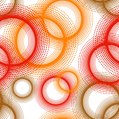 Colorful abstract seamless background. Halftone circles, halftone dot pattern. Repeating geometric tiles. Vector clip art.