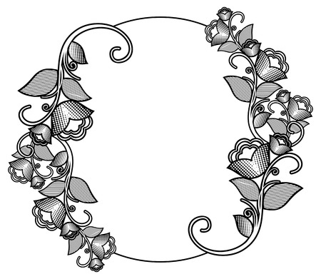 Silhouette floral round frame with halftone pattern. Ornament for laser engraving. Clip art. Illustration